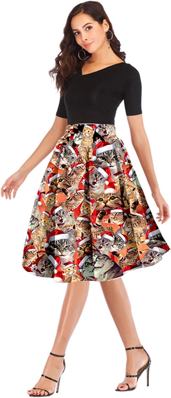 Hanlolo Womens Novelty Skirts Christmas Halloween 3D Print High Waisted Knee Length Pleated A-Line Midi Skirt