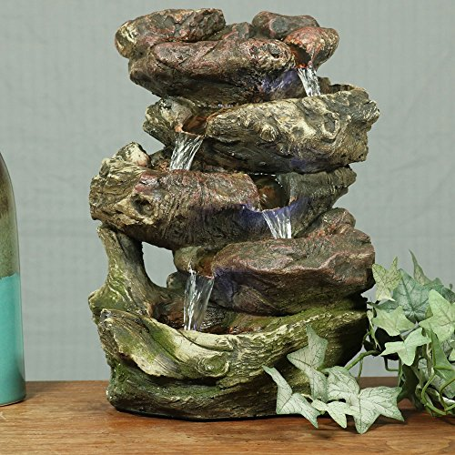 Sunnydaze 5-Step Rock Falls Tabletop Fountain with LED Lights, 14 Inch