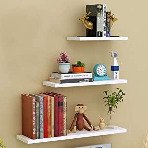 White Floating Wall Mounted Shelves, Set of 3 Display Ledge Storage Shelves for Bedroom Office Kitchen Living Room,Perfect for Modern Home Décor, Trophy Display, Photo Frames
