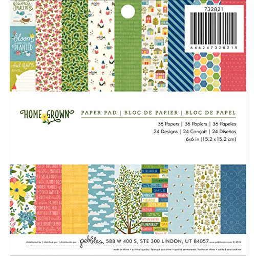 Pebbles Homegrown Patterned Paper Pad, 6 by 6-Inch