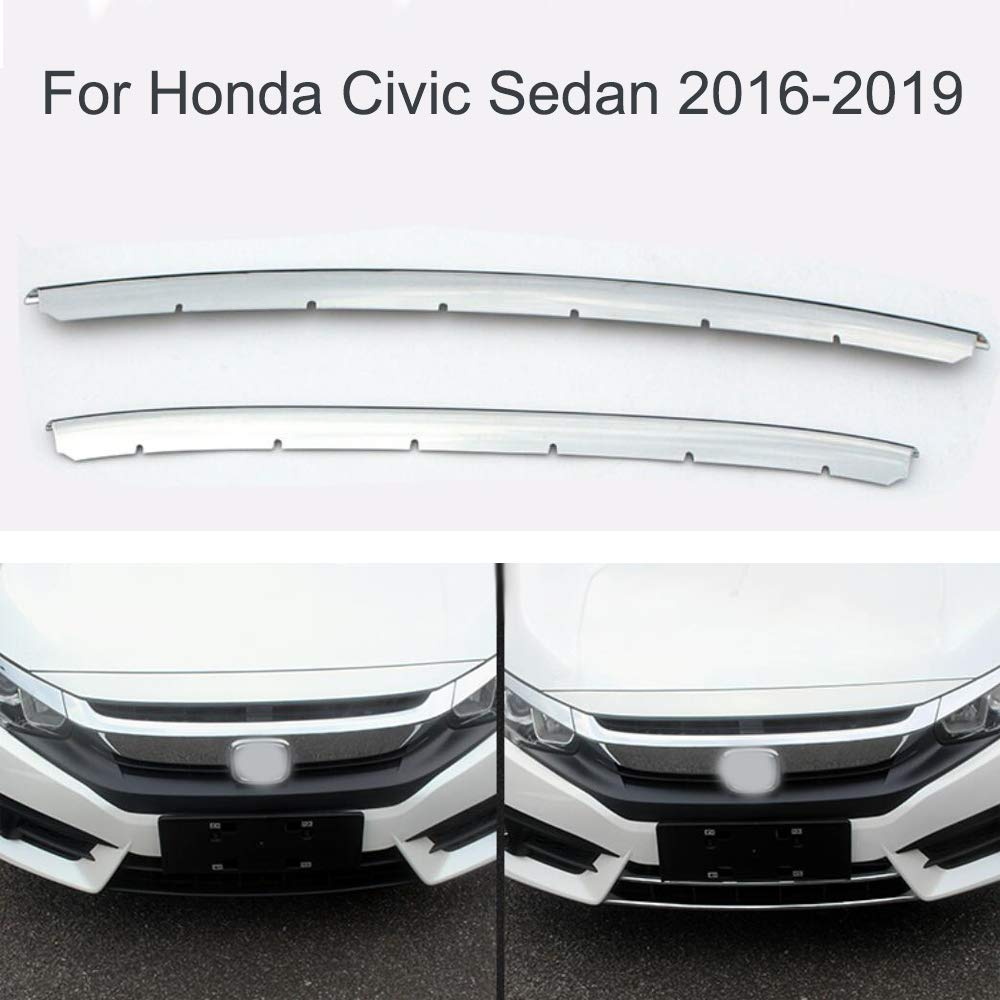 2Pcs Chrome Car Front Central Grille Grille Cover Molding Insert Trims Strip for Honda Civic Sedan 2016-2017-2018-2019 Yingchiyin Auto Parts Co. Ltd