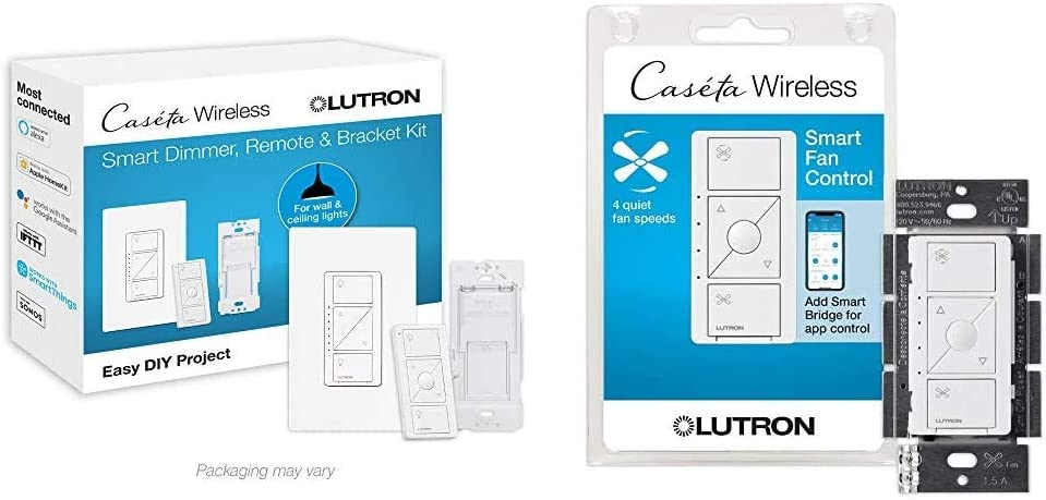 Lutron Caseta Smart Home Dimmer Switch and Pico Remote Kit, Works with Alexa, Apple HomeKit, and The Google Assistant | P-PKG1WB-WH | White & PD-FSQN-WH Caseta Wireless Smart Fan Speed Control, White