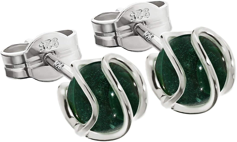 Par de pendientes de bola de NKlaus 925 esfera de plata esterlina circonio verde malaquita 7mm 7854