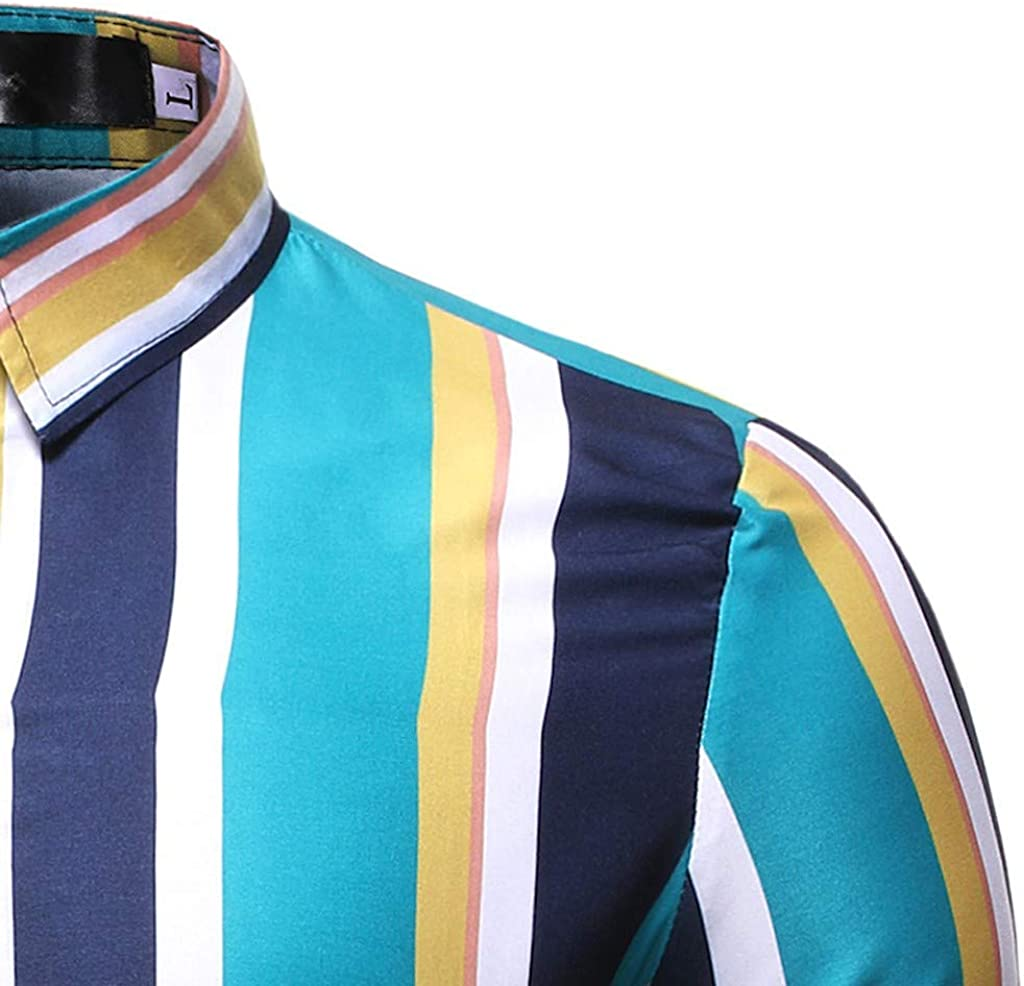 Dumanfs Mens Casual Stripe Shirts Button Turn-Down Collar Slim Fit Long Sleeve Top Shirt Blouse