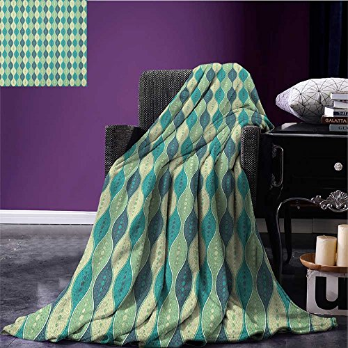 Abstract waterproof blanket Oval Curved Vertical Lines with Classic Effects Dots Retro Graphic plush blanket Sea Green Petrol Blue size:59