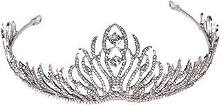 Livecitys Compleanno Nuziale Tiara, Strass Feather Crown Donne Sposa Principessa Tiara Fascia Nuziale Headwear Strass Feather Crown Donne Sposa Principessa Tiara Fascia Nuziale Headwear e Lega Colore: Silver cod. 333