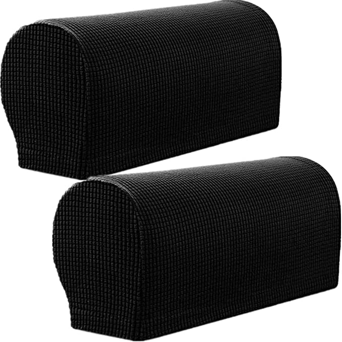 MEILIJIA 2PCS Sofa Spandex Stretch Armrest Covers Anti-Slip Stain Resistant Furniture Protector (Black)