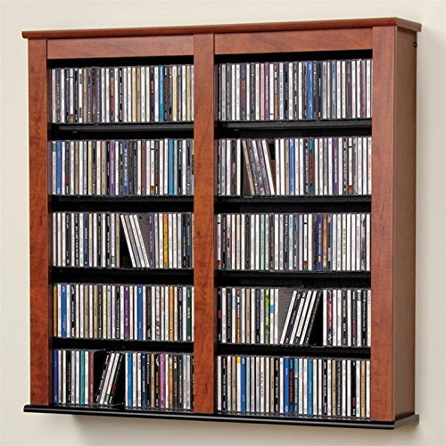 Cherry & Black Multimedia Double Floating Wall Storage - Prepac CFW-0349 by Prepac