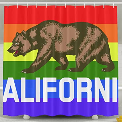 Flag Of California Shower Curtain Repellent Fabric Mildew Resistant Machine Washable Bathroom Anti Bacterial Polyester