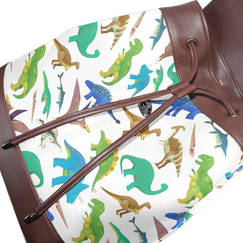 Unisex PU Leather Backpack White Untamed Fingerlings Dinosaurs Fury Print Womens Casual Daypack Mens Travel Sports Bag Boys College Bookbag