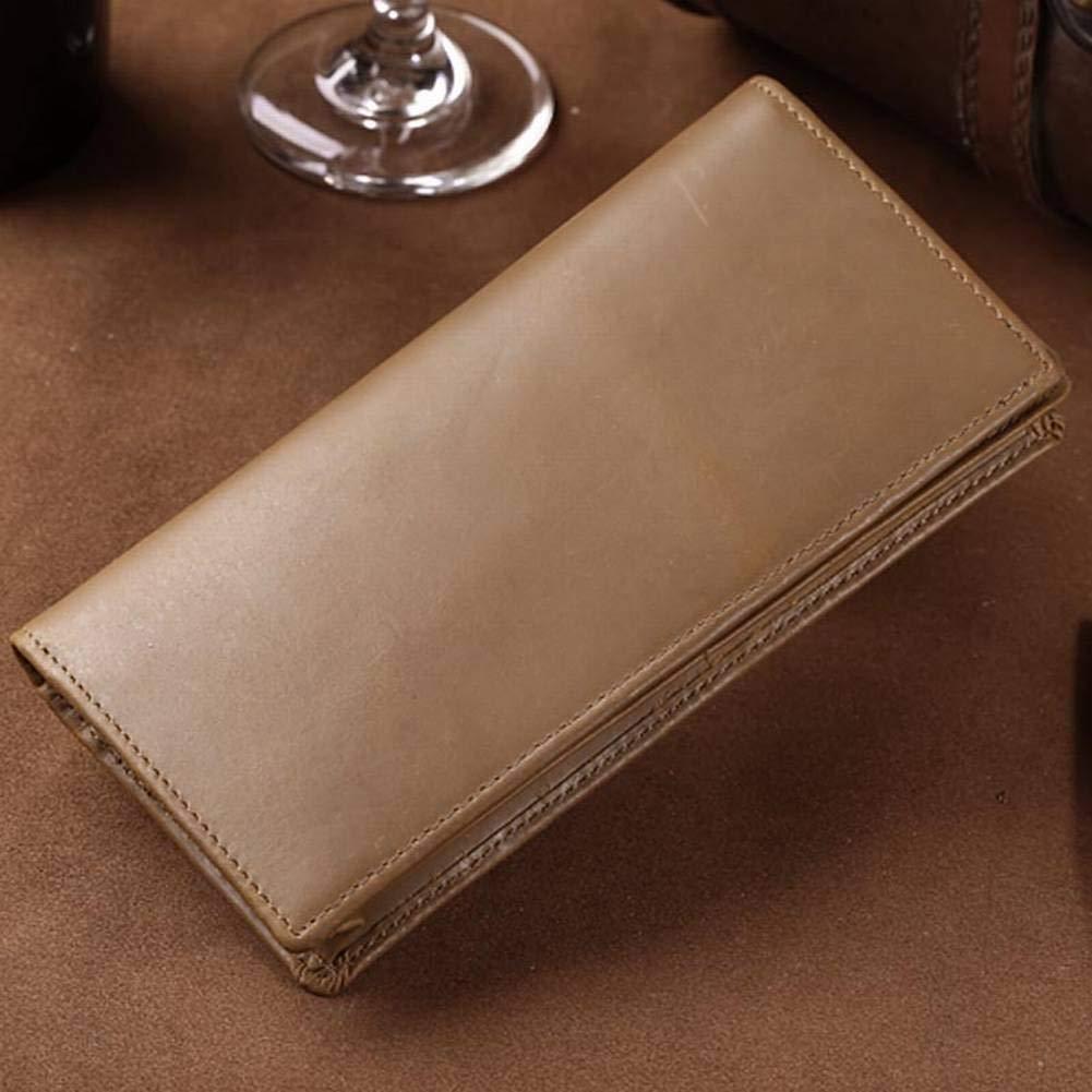 Creative Multifunction Crazy Horse Skin Long Wallet Casual Vintage Mens Wallet Wallet Simple Silver Case for Men