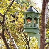 LDX Outdoor Bird Feeder, Bird House, Classical Gothic Rain Bird House, Bird Feeder - Gardening Landscaping - High-End Villa Decoration,Green