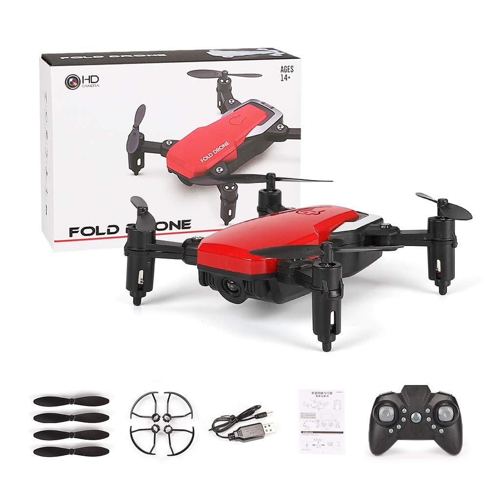 WANGKM Drone Pieghevole, per Bambini e Principianti, Altitude Hold, One-Key Decollo Atterraggio, 3D Flip, Bracci Pieghevoli, Controllo App WiFi (Drone Camera Non Inclusa),Red