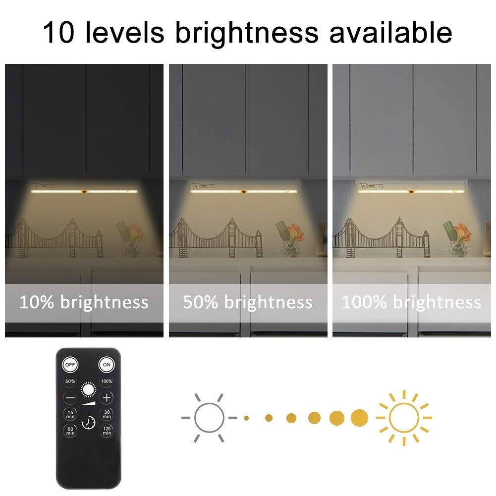 Litake Remote Control LED Lights Bar, Wireless LED Under Cabinet Lighting, Dimmable Battery Operated Closet Light Stair Night Lights, Stick on Anywhere Safe Light for Kitchen Hallway Bedroom, Arc
