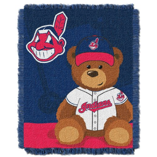 Team Cleveland Indians Design (The Northwest Company MLB Cleveland Indians Field Bear Woven Jacquard Baby Throw, 36