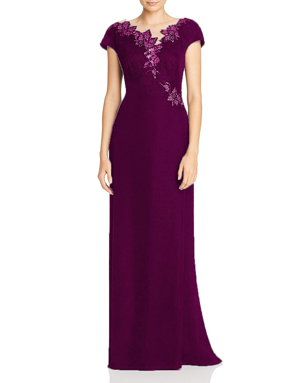 Darkmagenta Wanshaqin Women's Floral Embroidered Illusion Evening Gown Formal Wedding Party Dress