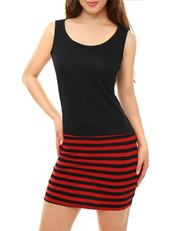 Damen Sommerkleid, ärmellos, gestreift Spannbetttuch Mini Dress Tank