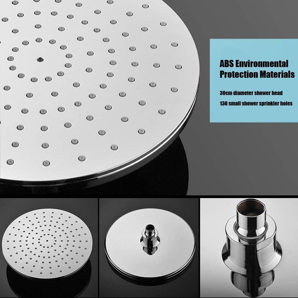 ATUM HOME Rainfall grifo redondo de ducha Juego de mezclador termost/ático de ba/ño con sistema de ducha con barra elevadora