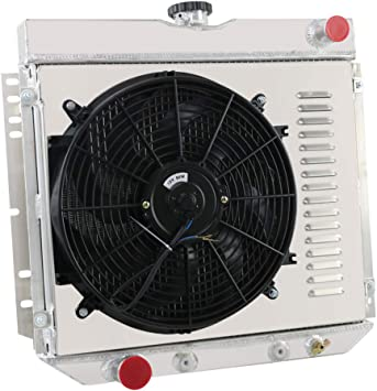 V8 OzCoolingParts 3 Row Core Aluminum Radiator 2 x 12 Fan w//Shroud Thermostat//Relay Wire Kit for 1969-1973 70 71 72 Ford Mustang Mercury Cougar Galaxie//Custom 500 and More Models