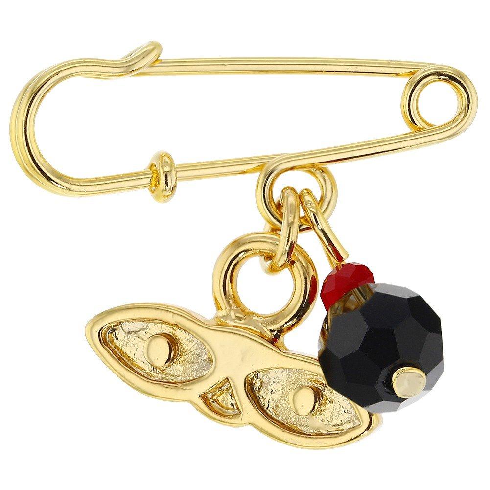 Chapado en Oro 14k Azabache Simulado Broche de Santa Lucia para Ni/ños In Season Jewelry