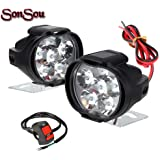 SONSOU 6 LED SHILAN Waterproof Fog Light for Bikes with on/off Handlebar Switch for Motorcycle Jeep SUV Car and Truck (Black)
