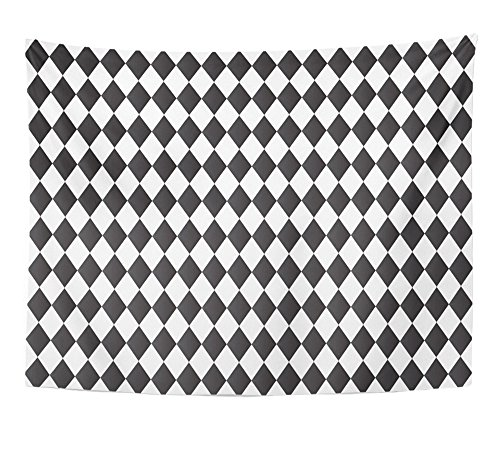 - Emvency Tapestry Gray Harlequin Black and White Abstract Geometry Pattern Diamond Shape Basic Home Decor Wall Hanging 60