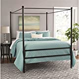 Moder Design Queen Size Canopy Bed Made of Metal in Black Finish 83.5L x 62.5W x 75H in.
