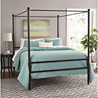 Moder Design Queen Size Canopy Bed Made of Metal in Black Finish 83.5'L x 62.5'W x 75'H in.