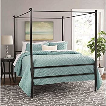 dhp modern canopy bed frame classic design queen size grey kitchen dining. Black Bedroom Furniture Sets. Home Design Ideas