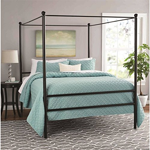 Moder Design Queen Size Canopy Bed Made of Metal in Black Finish 83.5