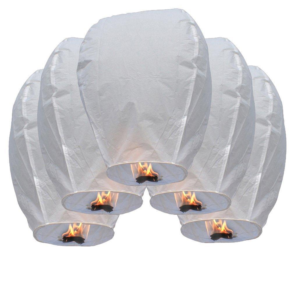 Teekland 50 Piece Fire Sky Lanterns, Chinese Paper Sky Flying, Wishing Lantern Lamp Candle, Party Wedding Wish Kongming Wish Lanterns ,White