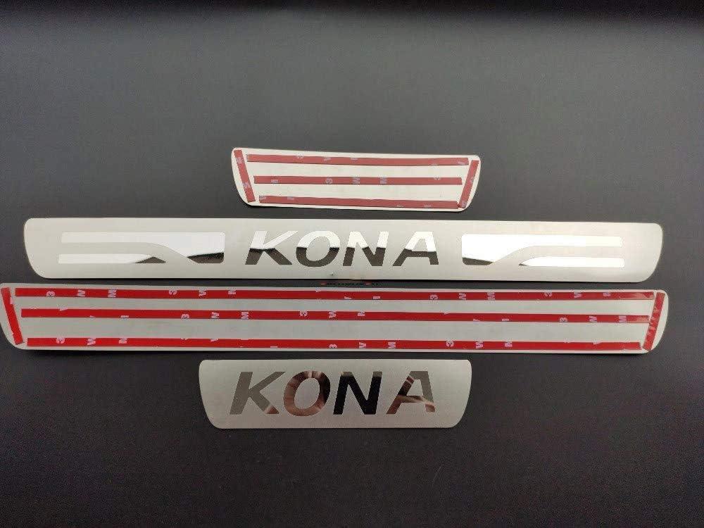 HYNB 4 Piezas de Pedal de Entrada de Acero Inoxidable Pegatina Protectores de Rayas protecci/ón de dise/ño de Coche para Hyundai Kona 2017-2020