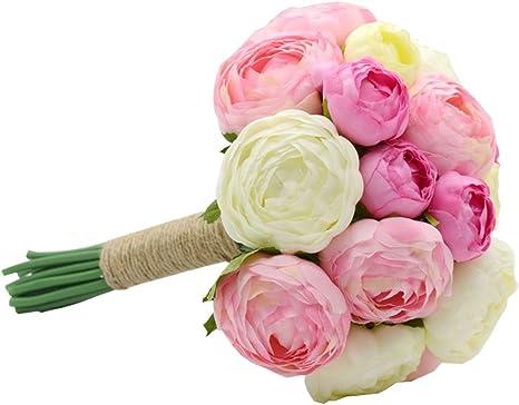 Ramo De Novia De Boda Ramos De Flores Rosas Artificiales De Flores Blooming Home Kitchen