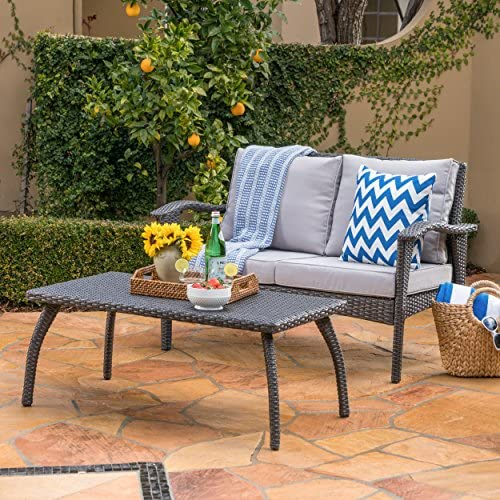 Christopher Knight Home Honolulu Outdoor Wicker Loveseat and Coffee Table Set with Water Resistant Cushions, Grey Silver Cushion