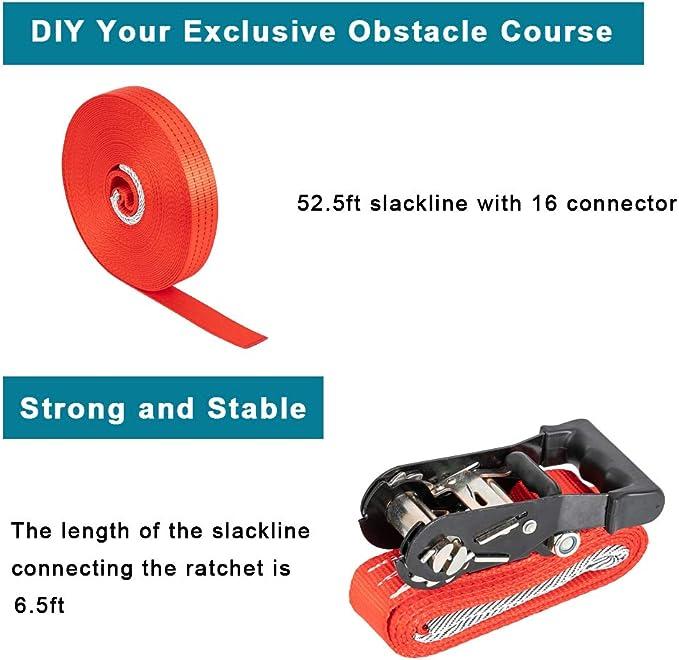 Joymor Ninja Hanging Obstacle Course Slackline Monkey Bars Kit 59 Ft Heavy Dut