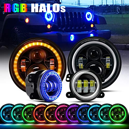 Headlight Signal Led Bumper - DOT Approved 7Inch Led RGB Halo Headlights Round Hi/Lo Beam Turn Signal DRL With Bluetooth Remote + 4Inch Front Bumper RGB Fog Lights For 2007-2017 Jeep Wrangler JK Rubicon JKU Sahara Sport Unlimited