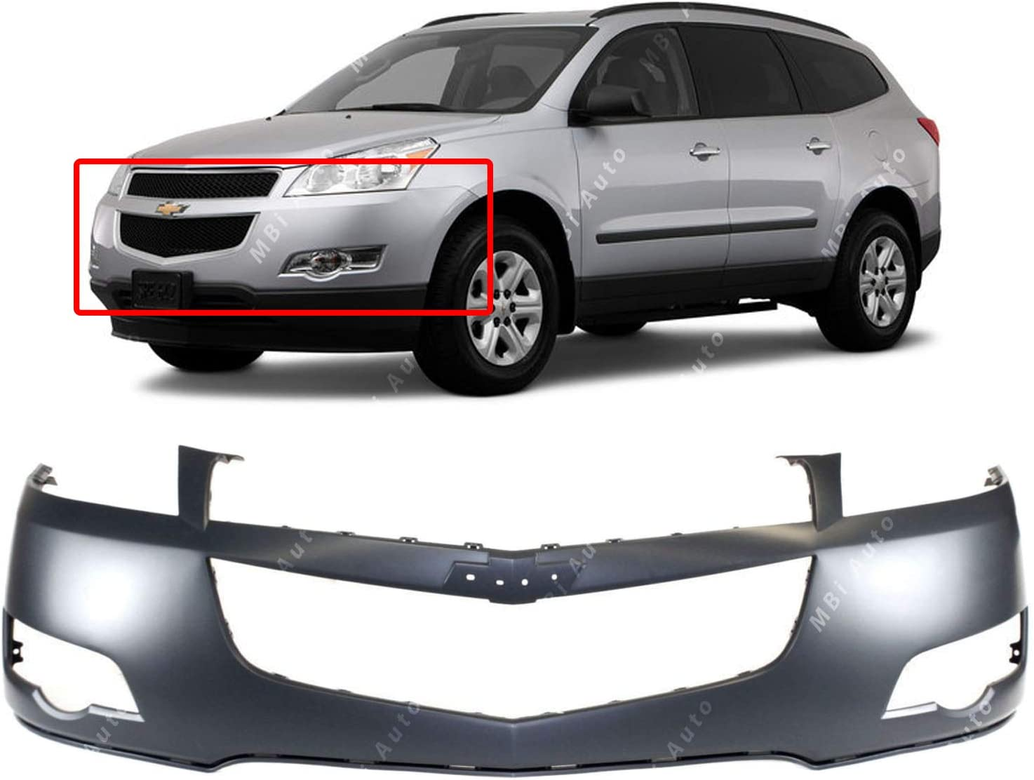 Primered BUMPERS THAT DELIVER GM1000897 Front Upper Bumper Cover Fascia for 2009-2012 Chevy Traverse 09-12