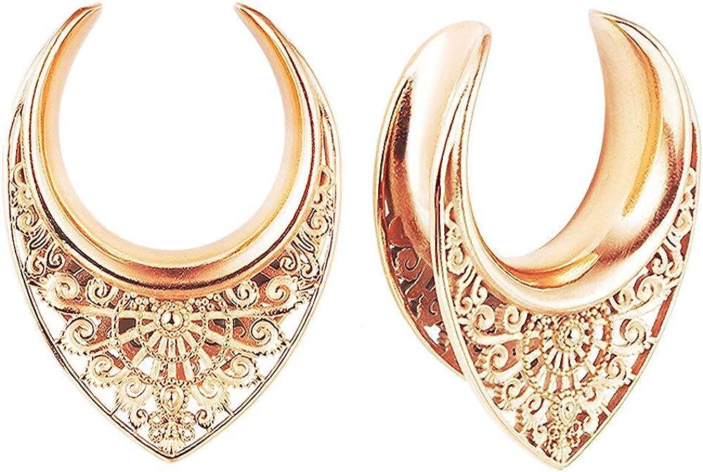 Casvort 2 PCS Saddle Tunnels Ear Hangers Ear Gauges Plugs Stretcher Earring Piercing Body Jewelry 1/2 inch-1 inch (12mm-25mm)