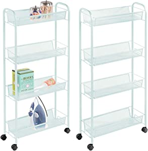 mDesign Portable Rolling Laundry Utility Cart Organizer Trolley with Easy-Glide Wheels and 4 Multipurpose Heavy-Duty Metal Mesh Basket Shelves - Durable Steel Frame - 2 Pack - Mint Green