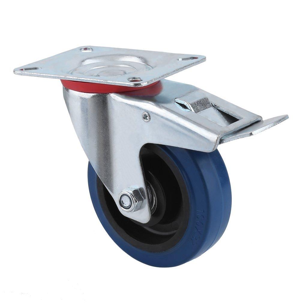 2 sin freno 2 con freno ruedas para transporte, carga de 160 kg 100mm Homgrace Juego de 4 ruedas giratorias para muebles di/ámetro de rueda 100MM