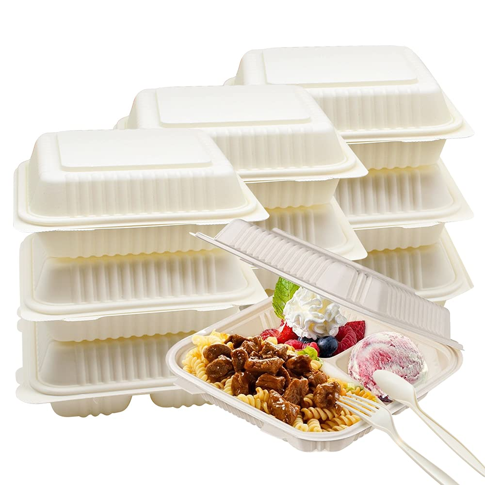 Compostable Clamshell Lunch Box Portable Take Out Food Containers 50 Counts Disposable Biodegradable to Go Takeaway 3 Grid Box w/Lid Working Meal Camping Meal Box w/Fork and Spoon Total 150pcs