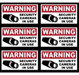 "6 Pcs Unblemished Popular Video Surveillance Sticker Yard Sign Anti-Thief 24Hr Warning Bumper Adhesive Size 4"" x 2"""