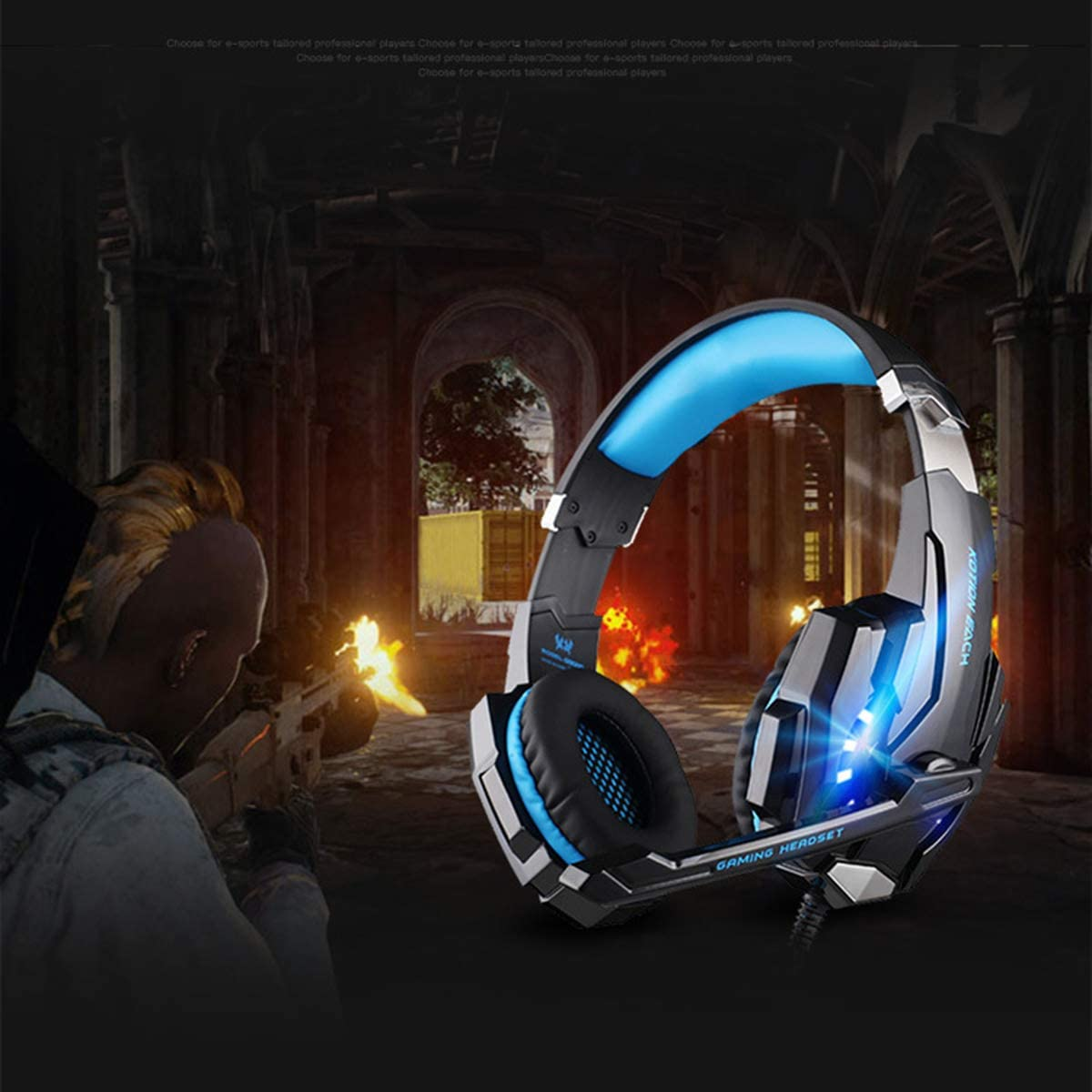 Dibiao Wired Stereo Gaming Headset,Noise Cancelling Over Ear Headphone with LED Light Black Blue