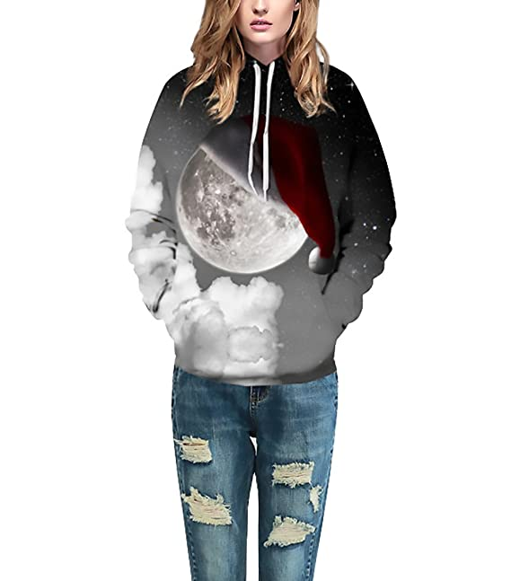 Sudaderas con Capucha Mujer Hombre Navidad Fiestas Tallas Grandes Anchas Sencillos Especial Hoodies 3D Estampadas HD Colorido Galaxia Sweatshirts Invierno ...