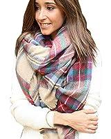 ABC® Women Scarf, Plaid Cozy Checked Scarf Women Lady Blanket Oversized Tartan Wrap Shawl