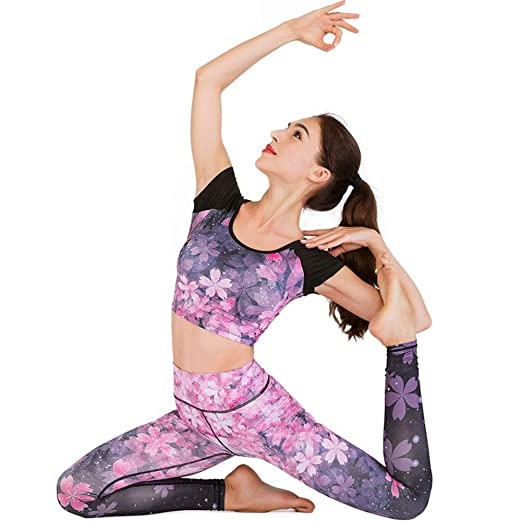 YDYL-LI Impreso Flor Set De Yoga Cómodo Traje De Fitness Fit ...