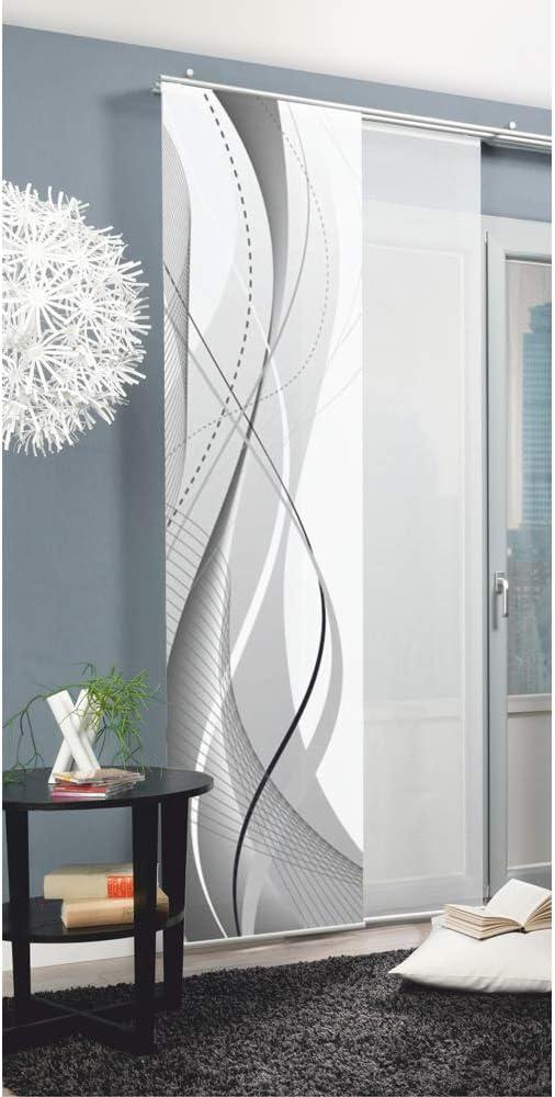 Home Fashion 87152 Carlisle - Panel japonés con impresión Digital (con rieles y sujeciones, 245 x 60 cm), poliéster, Gris, 245 x 60 cm: Amazon.es: Hogar