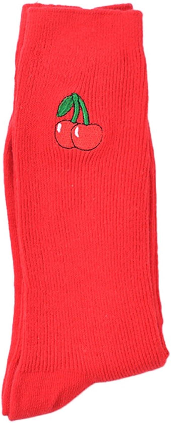 Leana Collection 4 Paire R/étro Femme Chaussettes Soquettes Coton Fruit Motif Broderie Bas Long Hiver Chaude Cadeau