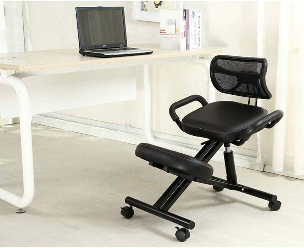 Bh Ergonomic Knee Chair Office Chair Desk Chair Promotes Good Posture Metal Frame With Handle And Wheels Colour Black Amazon De Kuche Haushalt