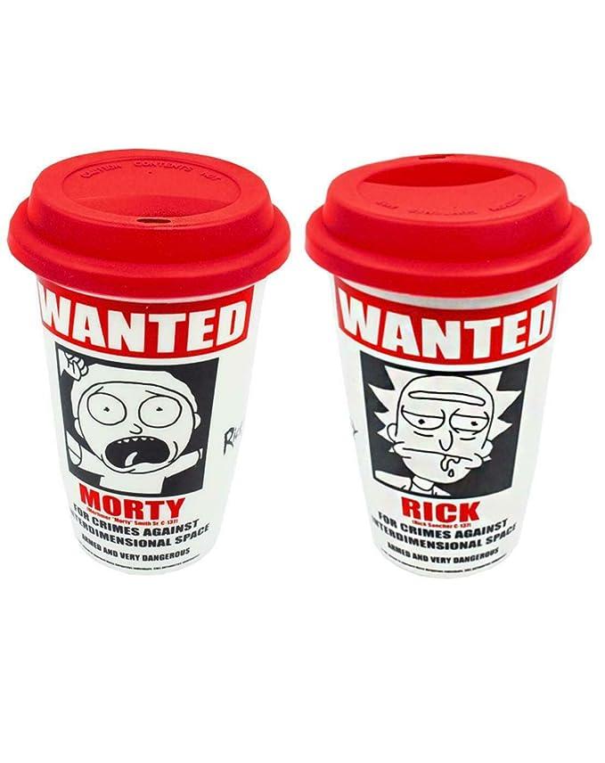 Rick And Morty Wanted Poster Taza de viaje blanca 340 ml 12 oz